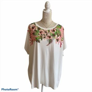 Tommy Hilfiger Tee Graphic White Green Pink Floral